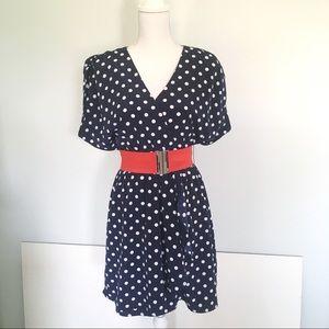 H&M Patriotic Polka Dot Faux Wrap Dress